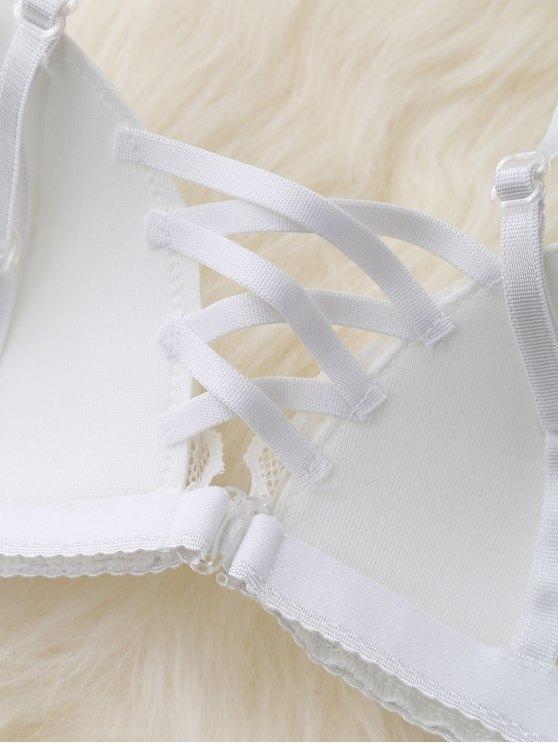 Lace Panel Strappy Bra - WHITE ONE SIZE Mobile