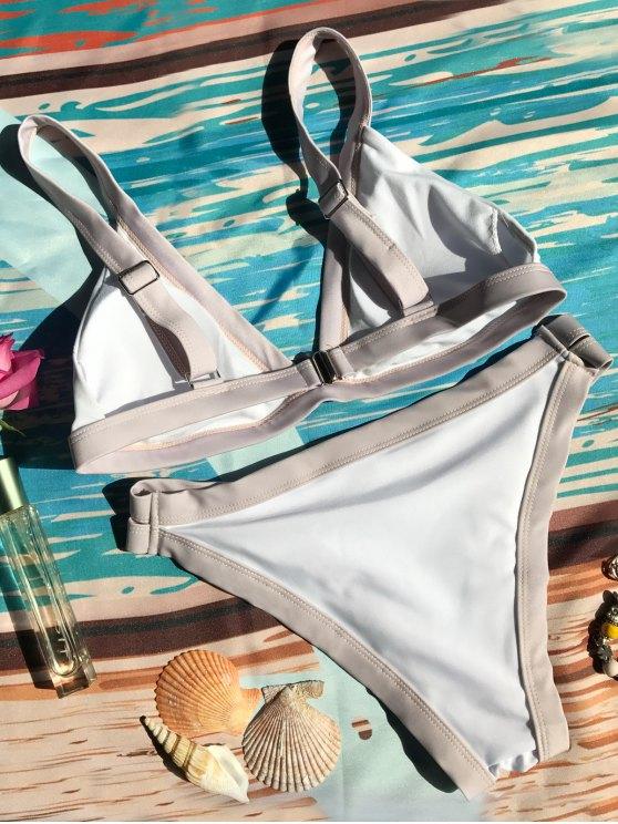 Plunge Bicolor Banded Bikini - WHITE M Mobile