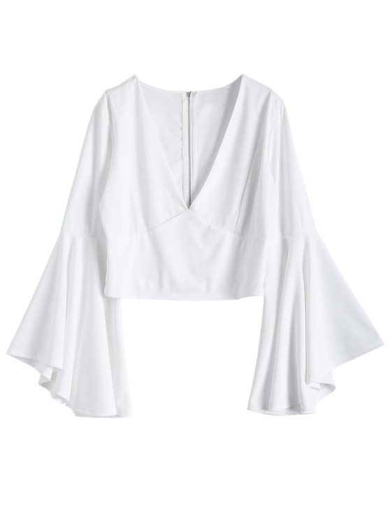 women Zippered Fitted Flare Sleeve Crop Top - WHITE M