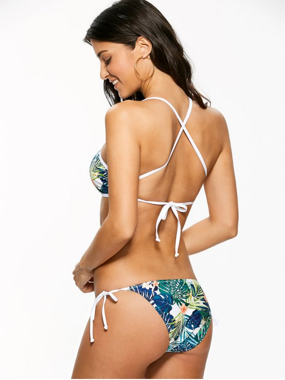 High Neck Tropical Print Bikini - MULTICOLOR L Mobile