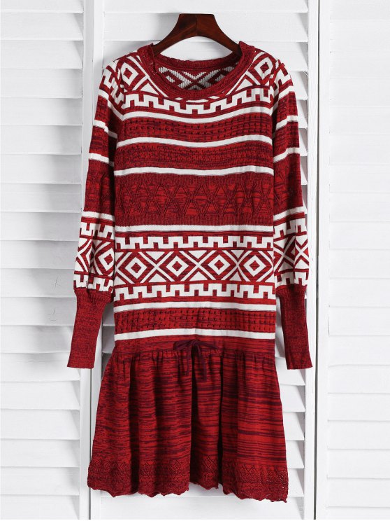 Geometric Pattern Long Sleeve Sweater Dress - CLARET ONE SIZE(FIT SIZE XS TO M) Mobile