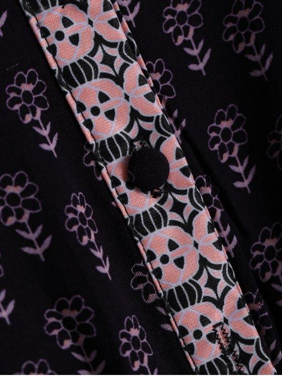 Ethnic Print V Neck 3/4 Sleeve Maxi Dress - COFFEE S Mobile