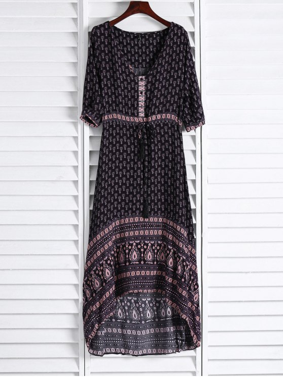 hot Ethnic Print V Neck 3/4 Sleeve Maxi Dress - COFFEE M