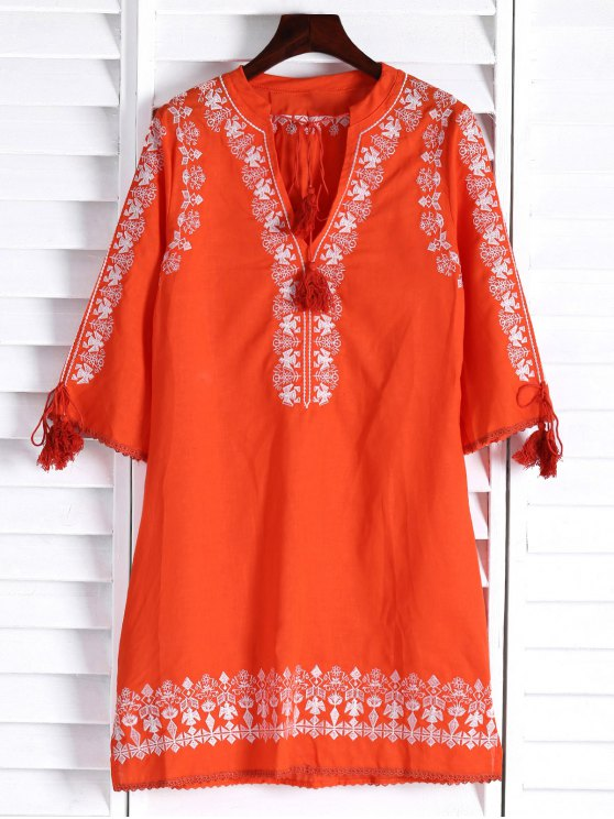 Floral Embroidery Plunging Neck 3/4 Sleeve Dress - ORANGE S Mobile
