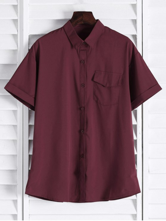 outfits Chest Pocket Short Sleeve Shirt - CLARET L