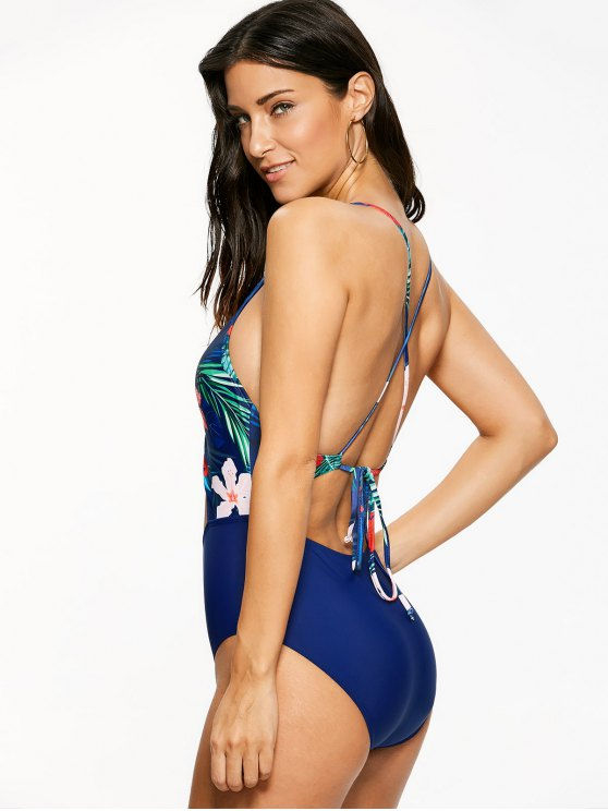 Floral Hollow Out One-Piece Swimwear - BLUE L Mobile