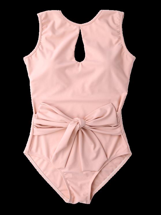 Keyhole Bowknot Swimwear - PINK M Mobile