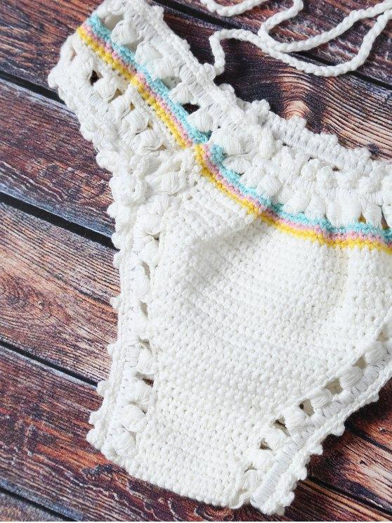 Flower Pattern Halter Crochet Bikini Set - WHITE ONE SIZE(FIT SIZE XS TO M) Mobile