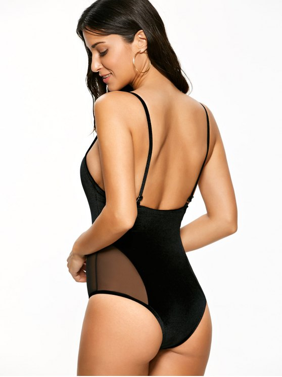 Mesh Panel Cami Velvet One Piece Swimwear - BLACK L Mobile