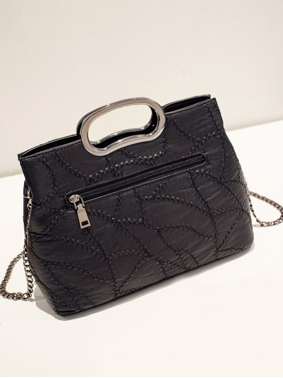 Stitching Rivet Handbag with Chains - BLACK  Mobile