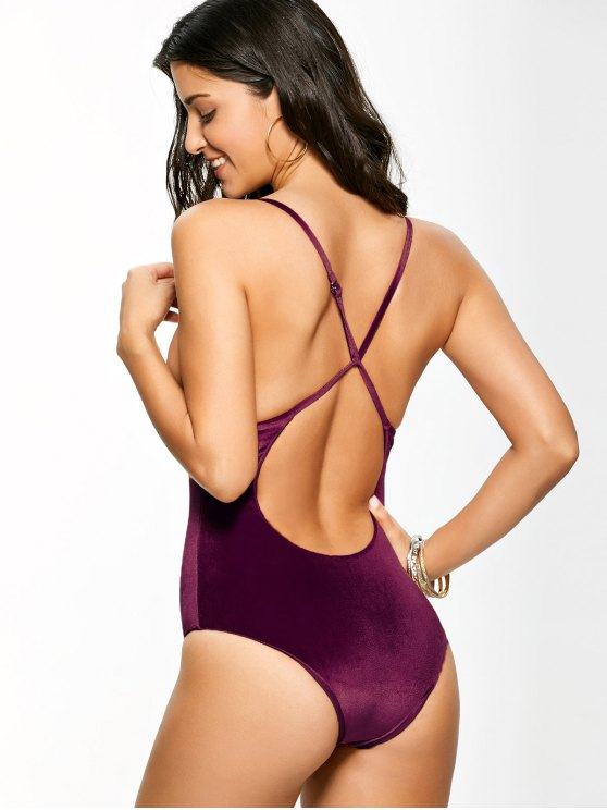 Reversible Cross Back Pleuche Swimwear - PURPLISH RED M Mobile