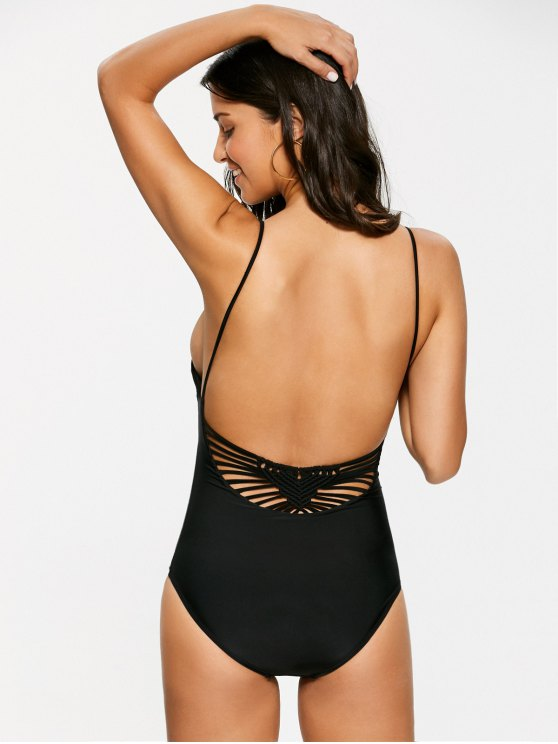 Macrame One Piece Swimsuit - BLACK L Mobile