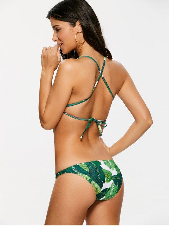 Palm Leaf Print High Neck Bikini - GREEN M Mobile