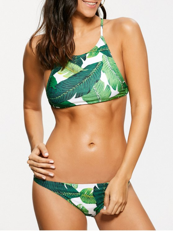 Palm Leaf Print High Neck Bikini - GREEN L Mobile