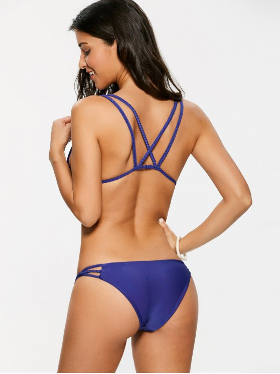 Braided Strappy Thong Bikini Set - DEEP PURPLE S Mobile