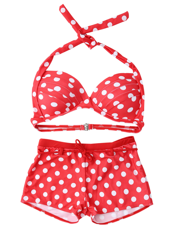 Bandeau Polka Dot Push Up Padded Bikini Set - RED XL Mobile