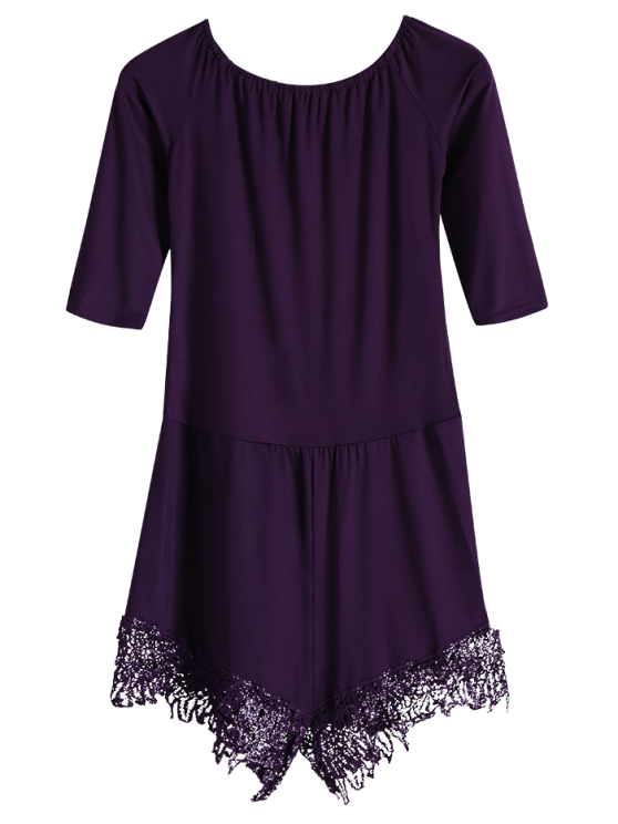 Off The Shoulder Romper - PURPLE S Mobile