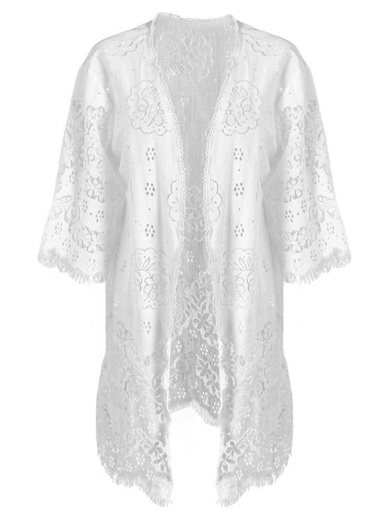 Women Openwork Lace Cover-Up - WHITE ONE SIZE(FIT SIZE XS TO M) Mobile