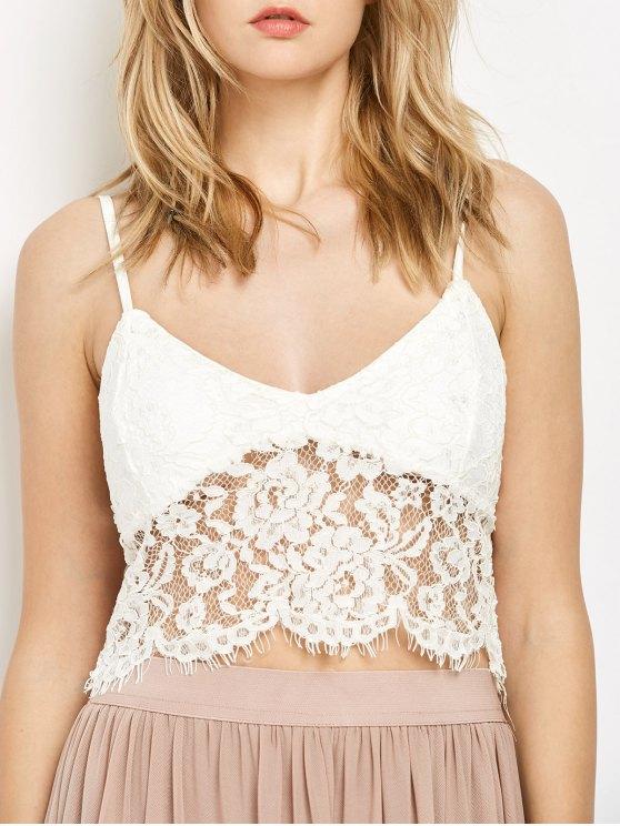White Lace Bralette - WHITE M Mobile