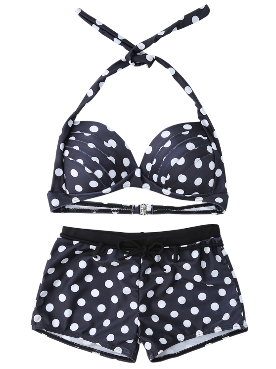 Bandeau Polka Dot Push Up Padded Bikini Set - BLACK XL Mobile
