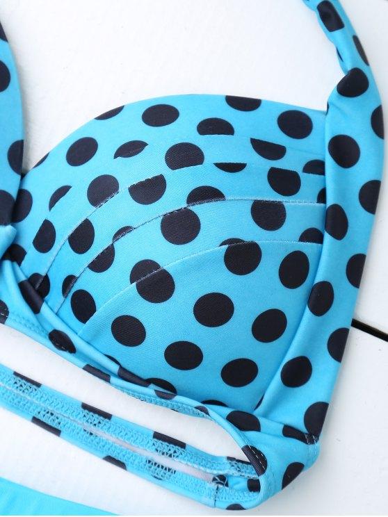 Bandeau Polka Dot Push Up Padded Bikini Set - LAKE BLUE M Mobile