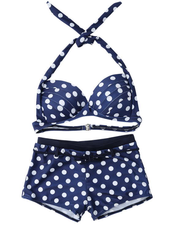 Bandeau Polka Dot Push Up Padded Bikini Set - BLUE XL Mobile