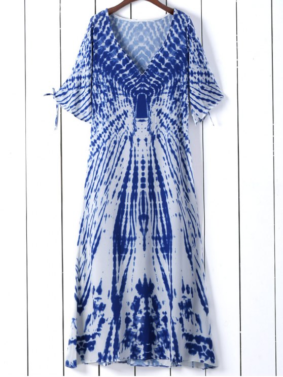 trendy Tie Dye Plunge Neck Split Sleeve Dress - BLUE S