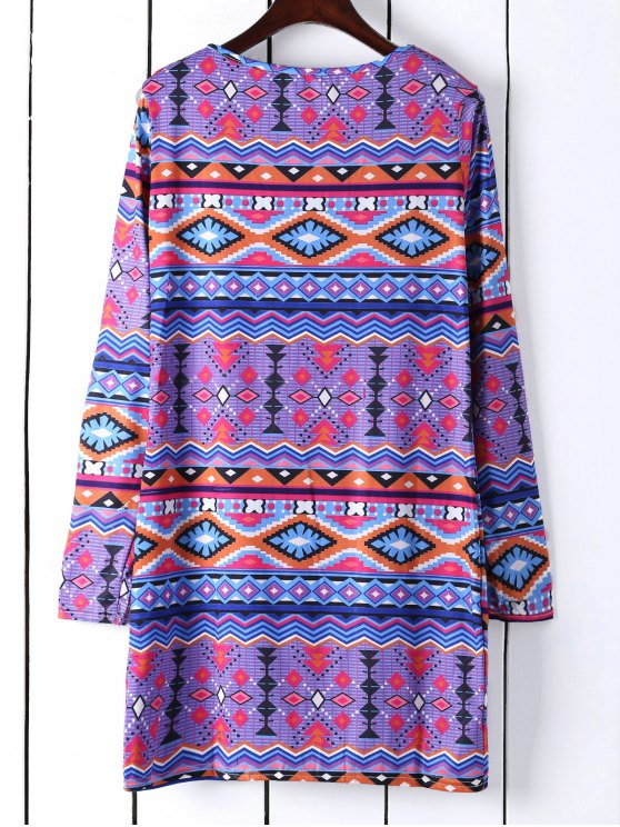 Long Sleeve Printed Shift Tunic Dress - BLUE S Mobile