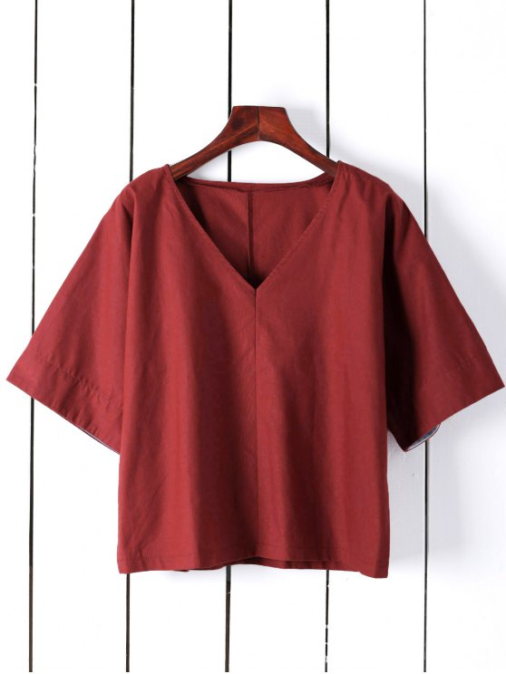 Pure Color Plunging Neck Half Sleeve Blouse - RED M Mobile