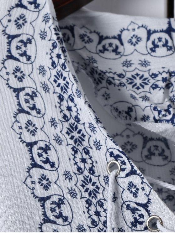 Ethnic Print V Neck Long Sleeve Maxi Dress - WHITE S Mobile