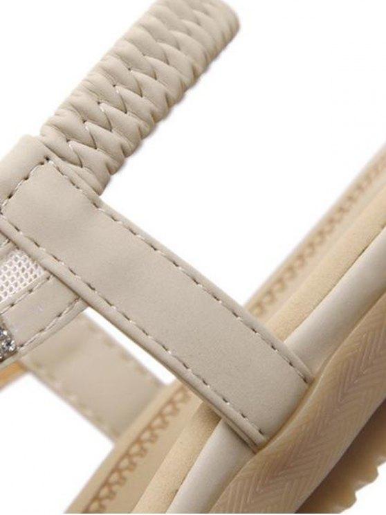 Elastic Band Rhinestones Mesh Sandals - APRICOT 41 Mobile