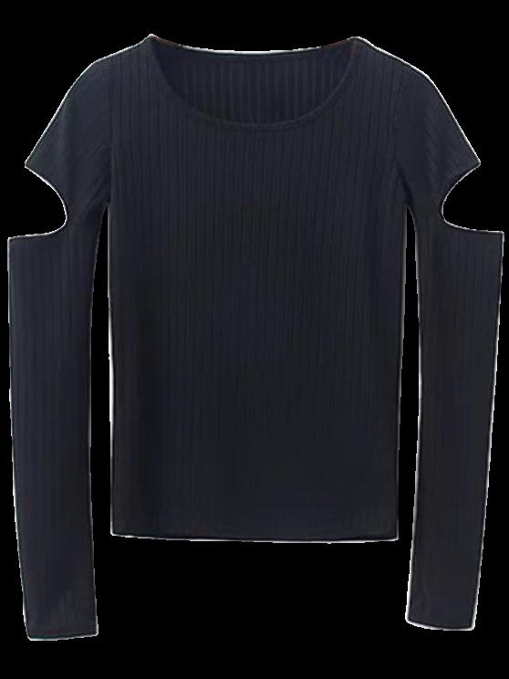 affordable Split Long Sleeve Layering Top - BLACK S