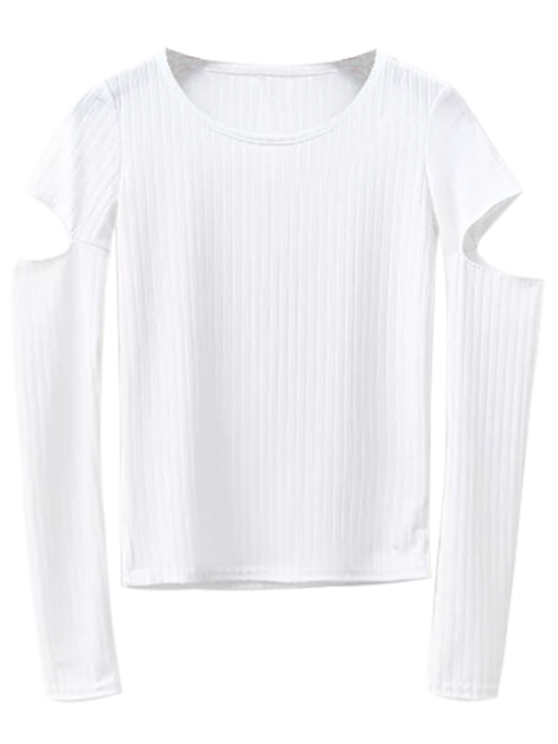womens Split Long Sleeve Layering Top - WHITE S