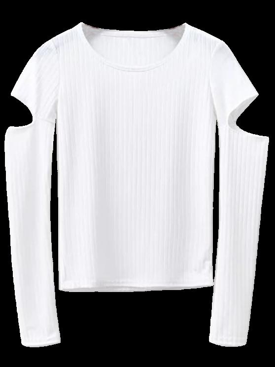womens Split Long Sleeve Layering Top - WHITE S