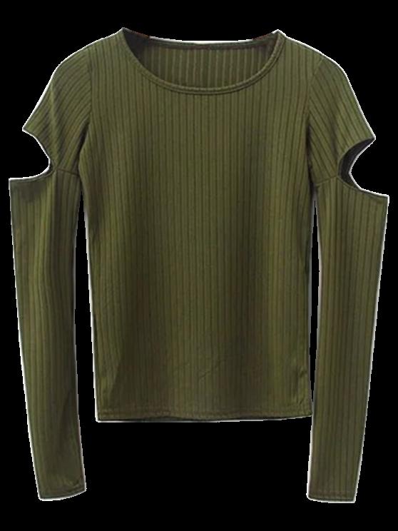 women Split Long Sleeve Layering Top - ARMY GREEN M