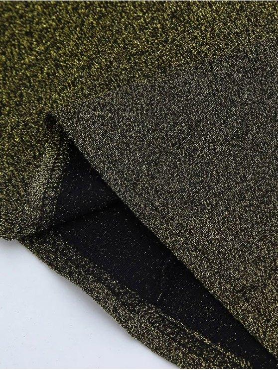 Glitter Tie Shoulder Slip Dress - LIGHT_GOLD M Mobile