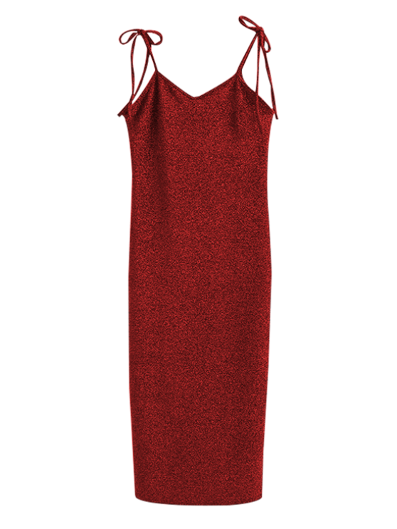 best Glitter Tie Shoulder Slip Dress - BURGUNDY M