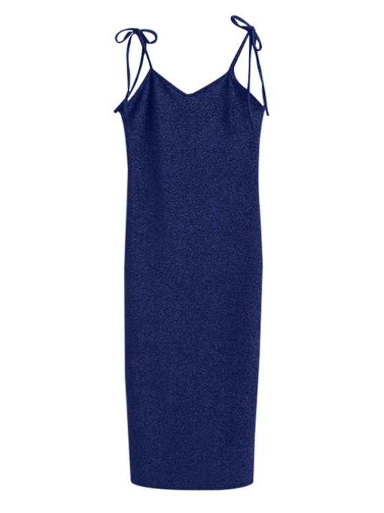 Glitter Tie Shoulder Slip Dress - BLUE M Mobile