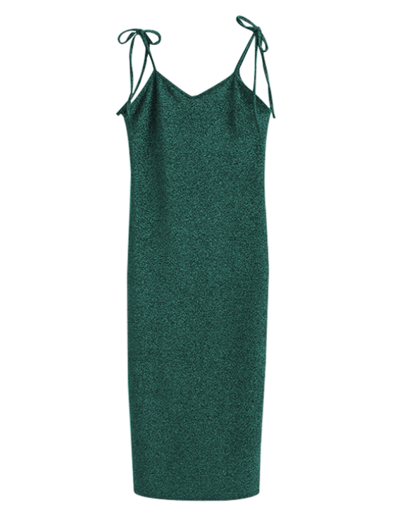 Glitter Tie Shoulder Slip Dress - GREEN S Mobile