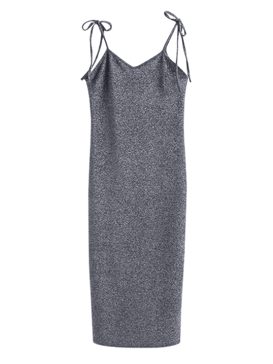 trendy Glitter Tie Shoulder Slip Dress - SILVER GRAY S