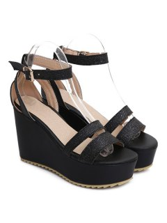 Faux Leather Ankle Strap Sandals - Black 37