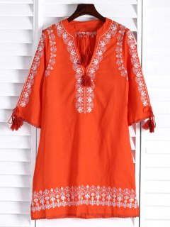 Floral Embroidery Plunging Neck 3/4 Sleeve Dress - Orange S