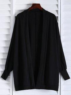 Oversized Batwing Sleeve Coat - Black
