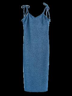 Glitter Tie Shoulder Slip Dress - Peacock Blue S