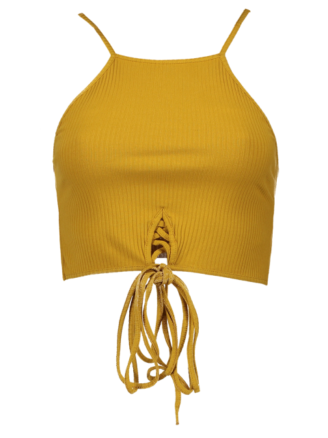 womens Spaghetti Straps Strappy Tank Top - YELLOW S Mobile