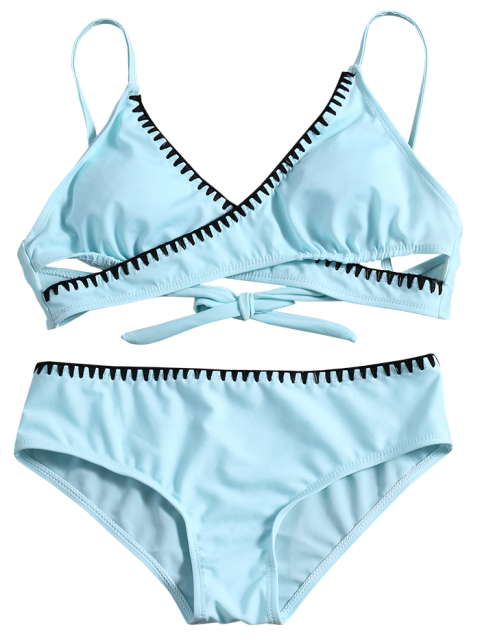 unique Cross Front Bikini Set - LIGHT BLUE L Mobile
