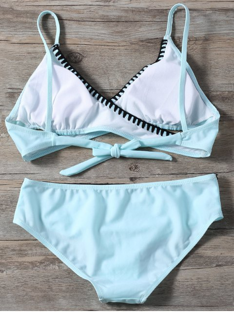 affordable Cross Front Bikini Set - LIGHT BLUE S Mobile