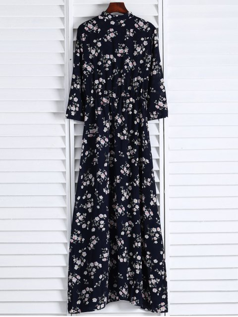 womens Floral Printed Fall Dress - BLACK S Mobile