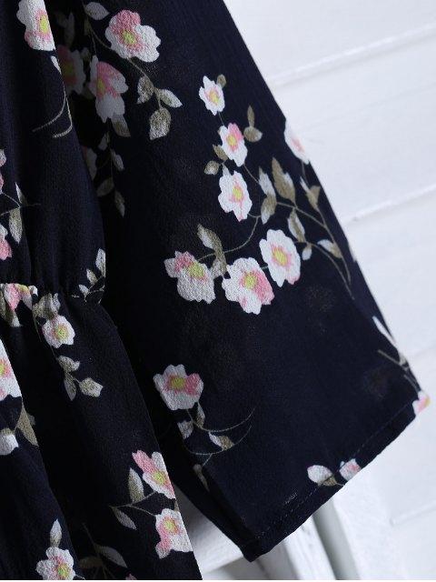 ladies Floral Printed Fall Dress - BLACK XL Mobile