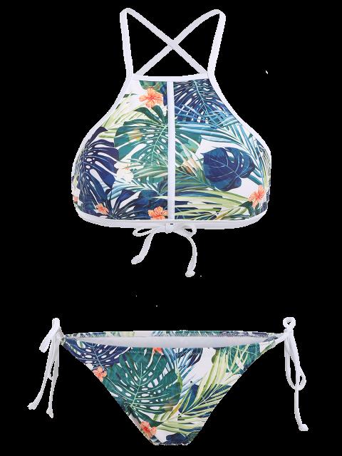 unique High Neck Tropical Print Bikini - MULTICOLOR M Mobile